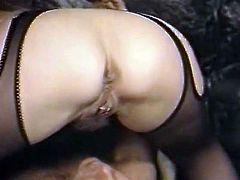 Horny and slutty bitch iwth nice ass and dark hair licks the hole on the penis and gets her clit licked. Have a look in steamy The Classic Porn sex video.