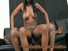 Ebony whore Tatyonna moans for huge black dick. This pussy stretching session is one that she surely enjoys the most. That massive tool inside her stretches the best of her.