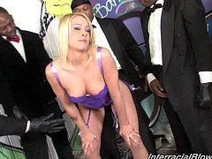 Check this blonde cougar, with big breasts wearing sexy lingerie, while she goes hardcore with several horny men wearing formal suits.
