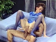 Kinky and sexy whore with nice shape and dark hair gives a blowjob and gets her asshole banged in cowgirl pose. Watch at this chick in The Classic Porn sex clip.