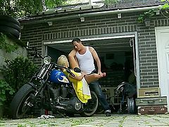 Gorgeous and attractive blonde babe Chary Kiss gets her ass fucked near bike