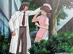Have a look at this great anime video where this sexy nurse is fucked silly by a guy outdoors until she's filled by cum.