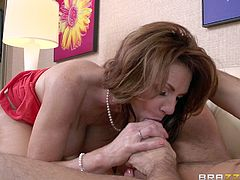 She's busty mature and has some class! Lady Deauxma knows, what she wants and Keiran Lee is precisely that! She spreads her thighs in front of him, offering her bald, juicy snatch and Keiran licks it up. Then, the experienced whore gets her pussy stuffed with his penis and even has a taste of it. Want to see more?
