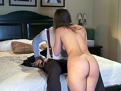 Brown-haired sweetie Dani Daniels is getting naughty with some man in a bedroom. She pleases him with a blowjob and then they fuck in cowgirl position and doggy style.
