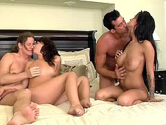 Have fun with this hardcore scene where these cock thirsty brunettes are fucked by two big cocks in a foursome.