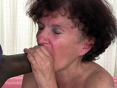She's old, but not too old for a big black cock! The granny used to be a filthy whore back in her time and now, nothing changed! In fact she likes cock more than ever and here you have her, sucking on this guy's massive dong. The slut granny sucks it hard and then, wants to get her pussy stretched by it. Can she take it?