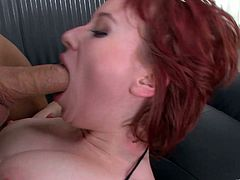 A gorgeous redhead bitch sucks on a hard cock and then gets it shoved balls deep into her fuckin' gash, hit play and check it out!
