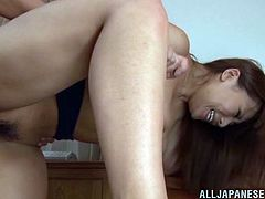 Watch as this fuckin' big titty Japanese hottie sucks on three fuckin' cocks right here in this hot-ass clip, check it out right here!