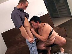 Make sure you have a look at this hot scene where a horny Mature BBW is fucked by this guy's big cock after she sucks on it.