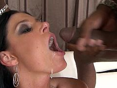 Jon Jon cums in mouth of brunette India Summer