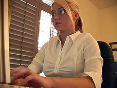 Hot blonde Alison Angel is having fun in an office. She unbuttons her white blouse and plays with her cute natural tits.