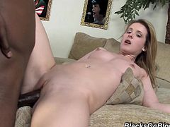 Nasty blonde milf Tweety Valentine is trying hard to satisfy a black guy. She gives him a blowjob and a handjob and then they bang in missionary and other positions.