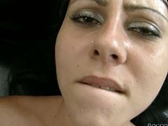 Lewd black haired girl passionately blows massive dick and then gets on all fours. After getting her shaved pussy pumped sweetie takes that thick dick up her inviting asshole.