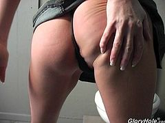 Watch the slutty redhead Cheyenne Hunter sucks on a big cock through a gloryhole as she ends up with a mouth filled by cum.