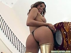 Watch this hot ass and big tits Latina babe Rena Cruz in this hot POV video.See how this beauty bends down and shows that hot Latina ass and strips off her bra for showing Juicy tits, before she crawls on her knees and grabs a big cock to suck it nicely.