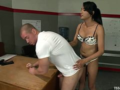 Sweet shemale Jessica knows everything about pleasing a man. She's with her boy Beau and enjoys a hot head from him. Seeing her sexy guy on his knees and with her hard cock between his lips makes Jessica horny as hell so she puts him on a table and begins to deeply ass fuck him. Yeah, don't miss this!