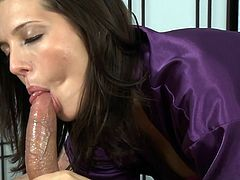 Her soft lips are making pure magic during top blowjob spectacle