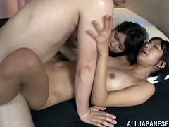Be part of this FFM where two brunette babes, with natural boobs wearing white panties, while they get drilled hard by a kinky fellow.