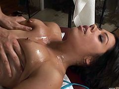What a shinning bitch Shane Dos Santos is. She gets down on that massage therapist's cock and blows it. Oh, this chick is hungry and so horny.