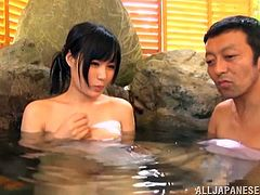 When a cute women step in naked to the hot spring, the men go absolutely wild and start to grope her, like crazy. They grab her tits and finger her pussy, as she is restrained. What a dirty slut she is. She gets fucked hard from behind, as she sucks cock.