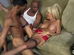 Amazing blonde mom Erica Lauren wearing stockings is trying to please two black studs. She gives a blowjob to one of the guys while the other fucks her pussy doggy style.