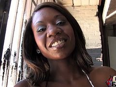 Hot ebony pornstar Jessica Grabbit wearing a bikini is giving an interview in a backstage clip. She talks about her scenes and herself.
