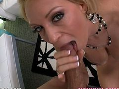 Well stacked blonde jerks off big cock on a pov camera. Enjoy watching her big jugs and juicy lips sliding penis stem up and down.