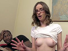Jay Taylor looks sweet and innocent in her glasses, but when she gives a black guy head and swallows his load you know she is a very naughty girl.