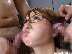 Watch this hot scene where the slutty Rika Hoshimi ends up with her face completely covered by semen after being gangbanged by guys.