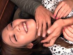 Stunning Japanese girl Eri Hosaka wearing lingerie and stockings shows her snatch to some guy and lets him play with it. Then they bang in cowgirl and missionary positions and enjoy it much.