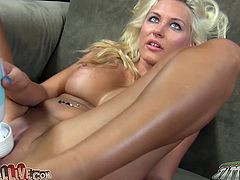 Sextractive blonde MILF with big boobs and ample round booty is standing on her all four getting rammed hard from behind. After the guy cums she pleases her pussy with powerful vibrator.