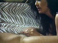 Slutty and horny brunette bitch in sexy black stockings gives a blowjob and gets drilled in doggystyle. Have a look in steamy The Classic Porn xxx clip.