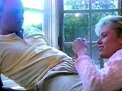 At first classic blonde gives him blowjob and then she spreads legs and he dives in her pussy. he please her big perky clit with playful tongue and makes her orgasm.