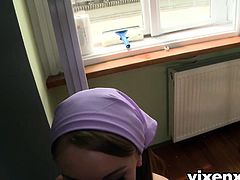 Hot Russian teen cleaning lady amazing POV blowjob