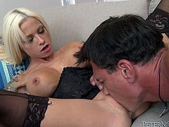 Have fun with this hardcore scene where the busty blonde Rikki Sixx has a great time with this guy's big cock as she wears lingerie.