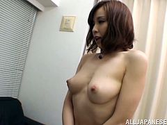 Take a nice look at this short haired Asian babe, with a nice ass wearing a cute bra, while she goes hardcore and moans like a kinky chick!