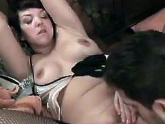Short-haired brunette milf is having fun with some dude indoors. She pleases him with a blowjob and then gets her wet pussy drilled from behind.