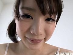 Watch this hot scene where the naughty Asian teen Airi Suzumura gives this guy a footjob until making him cum all over her pretty feet.