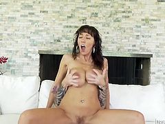 This brunette asks to try her boyfriend hard sex with her and she receives it. She gets her dripping pussy fucked hard jumping on cock. Have a look at this chick in Fame Digital sex video.