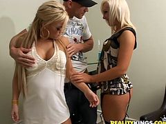 Check these blonde babes, with nice asses wearing sexy lingerie, while they get their pussies smashed hard by a kinky guy in a FFM.