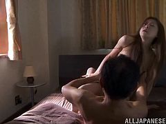 A nice Asian girl lifts up a skirt and lies down on a floor. A guy licks Manami's pussy and then fucks her in a missionary position.