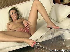 Some girls have different fetishes. The one, starring in this video is a slim bitch with long legs and lots of sex-appeal. The blonde is excited, to show her shaved pussy to the camera. You can see her licking with her tongue her own piss and also, pouring the liquid all over her head. Click for details!