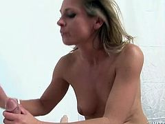 Fucking hot slut polishes big cock and gives good tugjob in this steamy Fame Digital sex scene. At the end she rides hard cock and rubs her perky clit all over it.