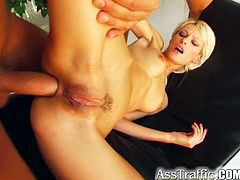 Tanya enjoys anal MMF sex and gets a mouthful of jizz