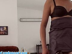 This Czech chick dresses elegant and strips for a guy to earn some money. She's doing great at teasing him and mesmerizing him with her hip moves and nakedness.