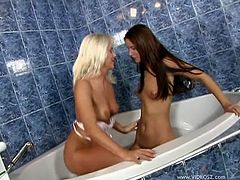 Two captivating lesbians Claudia Rossi and Kathy Anderson are getting naughty in a bathroom. They fondle each other passionately and then poke dildos into each other's pussies and bumholes.