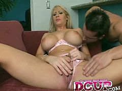 D Cup brings you a hell of a free porn video where you can see how the Busty blonde Candy Manson gets her mouth banged hard and deep into heaven while assuming very hot poses.