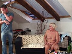 One day I had a few drinks with my wife and her mom. My wife is a slim chick so after a few glasses she couldn't handle it anymore and took a nap. I carried her to rest and then, when I came back, I found her mom completely naked. The saggy old blonde wanted a fuck so I gave her my dick just as she was her daughter!