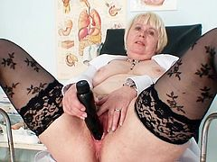 Nothing beats a stiff toy slamming her pussy at this age