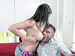 With juicy breasts finds it exciting to be face fucked by Mick Blue in front of the camera